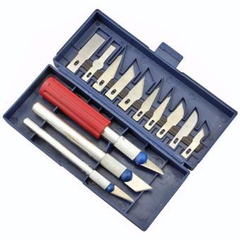 13 in 1 Set Pisau Alat Ukir Seni Dengan 3 Handle Pisau (Silver)
