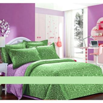 Alona Ellenov Ukir Lilac Hijau Sprei Katun Queen 160 x 200 x 20cm – Hijau