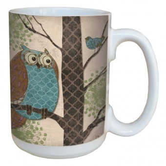 Tree-Free Greetings lm43430 Whimsical Owl on Tan by Paul Brent Ceramic Mug with Full-Sized Handle, 440ml - intl