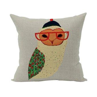 Nunubee Cotton Linen Square Throw Pillow Case Decorative Cushion Cover Pillowcase for Sofa Multicolor Owl