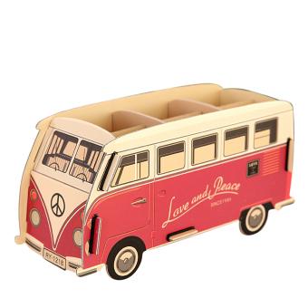 DIY Paper Cardboard Desk Storage Box Desktop Stationery Pen Pencil Box Organizer Storage Box Shelf Red Bus