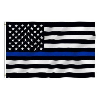 Thin Blue Polyester Fiber Line American Flag Law Enforcement + Grommet 35.4x59'' - intl