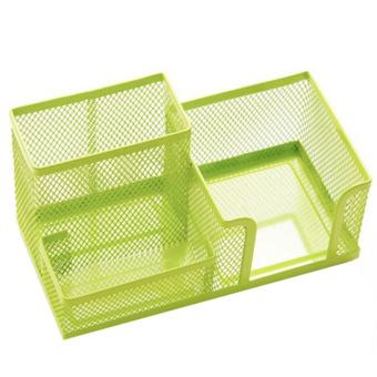 3 in 1 Multi-functional Desk Organizer Metal Grid Pen Pencial Holder Container Green - Intl