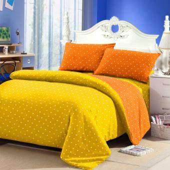 Jaxine Bedcover Katun Motif Polkadot Kuning Orange