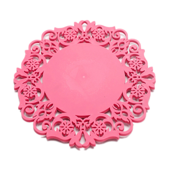 Insulation Round Silicone Cushion Household Cup Bowl Mat Table Non-Slip Potholder Tableware Pad Rose Red - intl