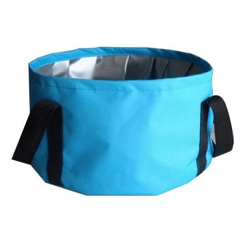 Portable Outdoor Camping Folding Basin Travel Bag 8.5L Blue