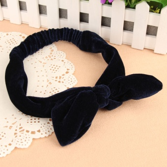 Big Rabbit Ears Bowknot Pleuche Headband Hair Tie Ponytail Holder Navy Blue (Intl) - intl