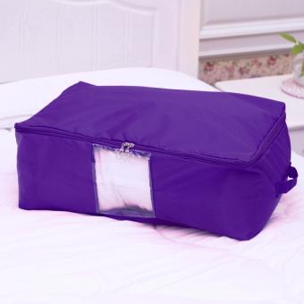 Portable Zip Oxford Quilt Storage Organizer Clothes Bedding Box Bag(Purple)