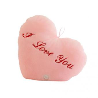 BolehDeals Lovely Heart Shape Soft Pillow Colorful LED Plush Cushion Birthday Gift Pink - intl