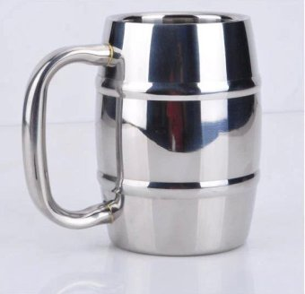 550ML High Quality Stainless Steel Silver Bamboo Shape Double Wall Beer Cup Coffee Milk Cups Children Drinks Cups - Silver - intl
