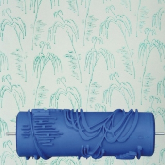 5.9 inch DIY Rubber Empaistic Pattern Painting Roller for Wall Decration (Blue)