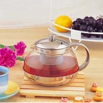 Harga 600ml-Heat-resisting Clear Glass Teapot Stainless Steel Infuser Flower Tea Pot -