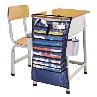 BAO CORE Students Desk Table Book Organiser Pocket Classroom Textbooks Hanging Rack Desktop Supplies Tidy Storage Bag, Blue - intl