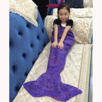 Hanyu ekor putri duyung Mermaid rajut selimut untuk anak selimut Sofa ruang tamu kamar tidur hangat lembut All Seasons Seatail berkemah kantong tidur selimut tidur melempar dengan kolor 135 cm x 42 cm (bunga hitam ungu) - International