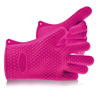 Uncle Sam Cyber Heat Resistant Silicone Gloves For Bbq, Grill, Bake &Cooking Kitchen Gloves (Rose Red)