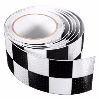 5x5M Flash Reflective Safety Warning Tape White&Black - Intl