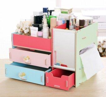 Best Rak Kayu kosmetik 058 CERMIN +TISSUE DIY Cosmetic Storage Organizer - Kombinasi