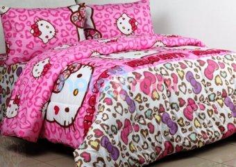 Jaxine Bed Cover Katun Kitty Leopard Pink
