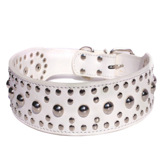 360DSC Fashion Round Nails Mushroom Nails Soft PU Leather Pet Dog Puppy Collar - White (Intl)