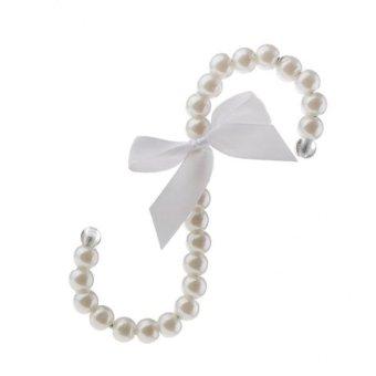 BolehDeals 16cm S-shape Pearl Beaded Hook Clothes Hanger Holder Bag Tote Hook White - intl