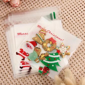500Pcs Merry Xmas Santa Cellophane Cello Bags Cookies Candy Christmas Gift Bags - intl
