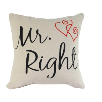2 PCS Cotton Linen Square Throw Pillow Case Home Car Office Decorative Cushion Cover Pillowcase Without Pillow Inner Mr Pattern and Mrs Pattern