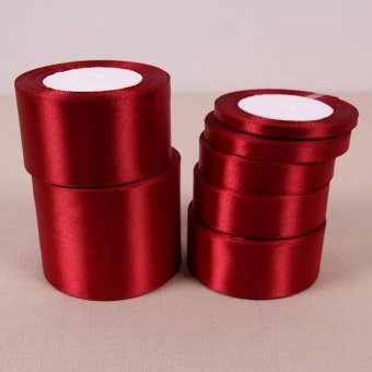 Wine Red 25 Yards Silk Satin Ribbon Wedding Party Decoration Gift Wrapping Christmas Year Apparel Sewing Fabric Hand DIY 12mm - intl