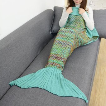 Mermaid Blanket Wool Knitted Fishtail Blanket Sofa Blanket - intl