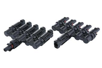chechang 1 Female to 4 Male (F/MMMMM) 1 Male to 4 Female (M/FFFFF) MC4 Solar Panel Branch Cable Connectors (Black) - intl