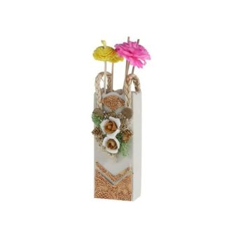 Ceramic Reed Diffuser with Wood Tray and Flower (White)