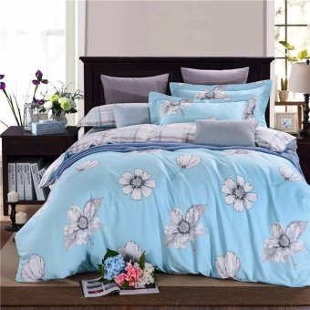 Cotton soft and comfortable 4pcs blue grey color print bedding set bedspread