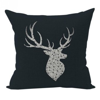 Nunubee Sofa Cotton Linen Home Square Pillow Decorative Throw Pillow Case Cushion Cover Black Antlers