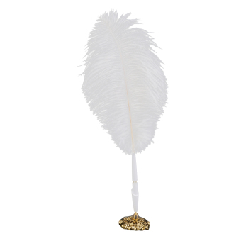 Ostrich Feather Quill Signing Pen with Metal Holder Wedding Pen Set S White