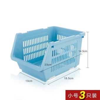 Built-In Shelf Thick Fruits And Vegetables Debris Admit Bonnets Shelf Kitchen Supplies 3 Pack , Small Blue 3 Pack - intl