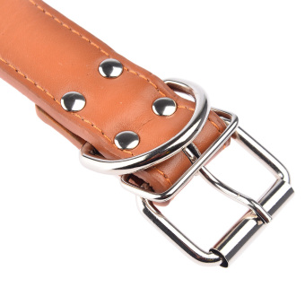 360DSC Fashion Round Nails Mushroom Nails Soft PU Leather Pet Dog Puppy Collar - Light Brown M (Intl)