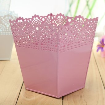 Iron Pastoral Style Square Shape Openwork Pattern Home Decoration Flower Pots Pink L - Intl