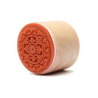 S & F OEM Cute 6 Types Wooden Round Rubber Stamp Little DIY Lace Pattern As You Choose RS-02 (Orange)