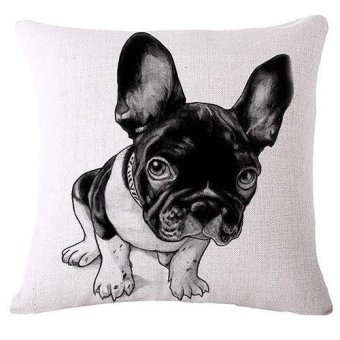 Sanwood Cute Pug Dog Linen Pillow Case Car Sofa Square Cushion Cover Home Room Decor 7 (Multicolor) - intl