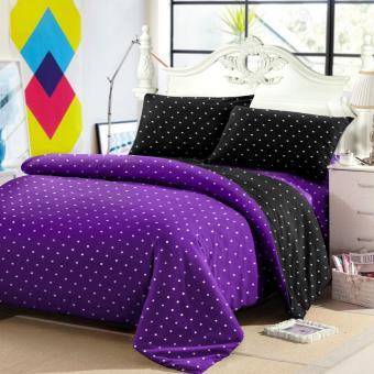 Jaxine Sprei Tinggi 30cm Motif Polkadot Warna Purple Black