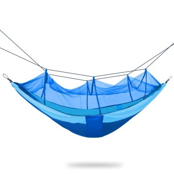 Portable Foldable Single-person Hammock Mosquito Net Hammock Hanging Bed for Travel Camping Hiking Blue