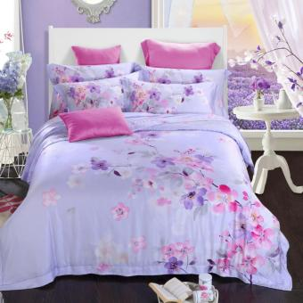 purple Flowers in clusters Jacquard Silk Bedding Set Luxury 4pcs Satin Bed Set Duvet Cover King Queen Size Bedclothes Bed Linen Sets - intl