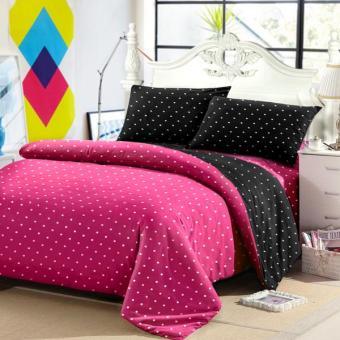 Alona Ellenov Polkadot Pink Hitam Bed Cover Set Katun – Pink