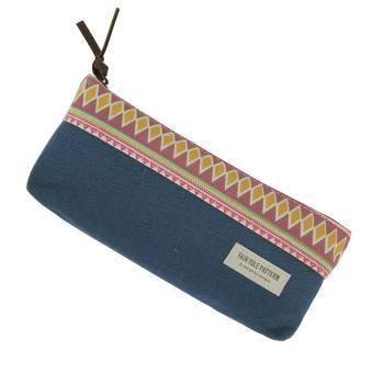 moob Scottish National Style Cute Multi Fuctional Linen Pencil Pen Case Bag Pounch, Blue