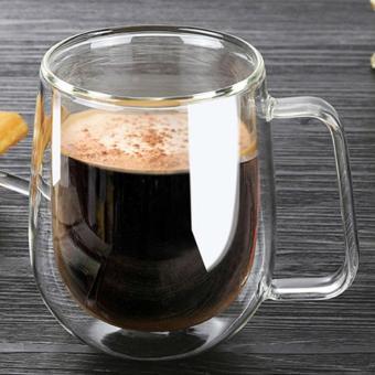 Harga Double Wall Glass Mugs 250ml High Quality Fashion Cups With Handle For Tea Milk Coffee