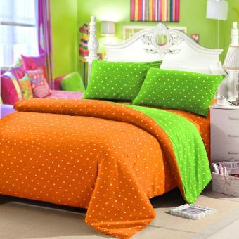 Jaxine Sprei Tinggi 25cm Motif Polkadot Warna Oranye Green