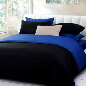 Alona Ellenov Sprei + Bedcover Polos Biru Tua Hitam Small Single 100x200x20cm- Hitam
