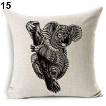 Sanwood Retro Sketch Wild Animal Deer Elephant Print Pillowcase Home Decor 15 - intl