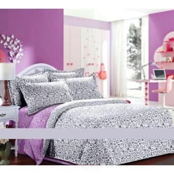 Alona Ellenov Ukir Lilac Putih Sprei Katun Queen 160 x 200 x 20cm – Putih