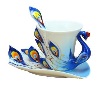 weisizhong Peacock Mugs Hand Crafted China Enamel Porcelain Tea Mug Coffee Cup Set with Spoon and Saucer (Blue)