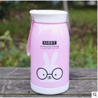 Fashion Cute Animals Design Water Bottle Panda Giraffe Rabbit Lion Bottles cup Kids Adult with rope kettle (Pink) - intl